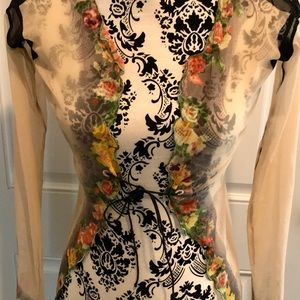 JEAN PAUL GAUTIER MAILLE ITALY SHEER FLORAL TOP